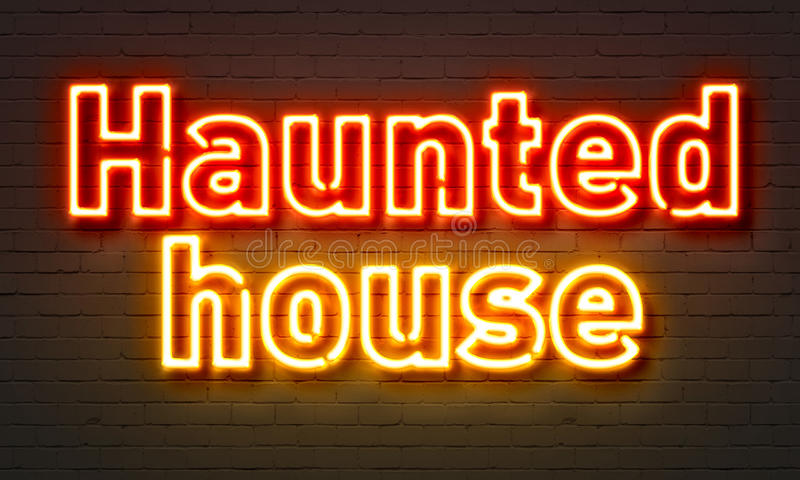 Haunted house neon sign on brick wall background. vector illustration