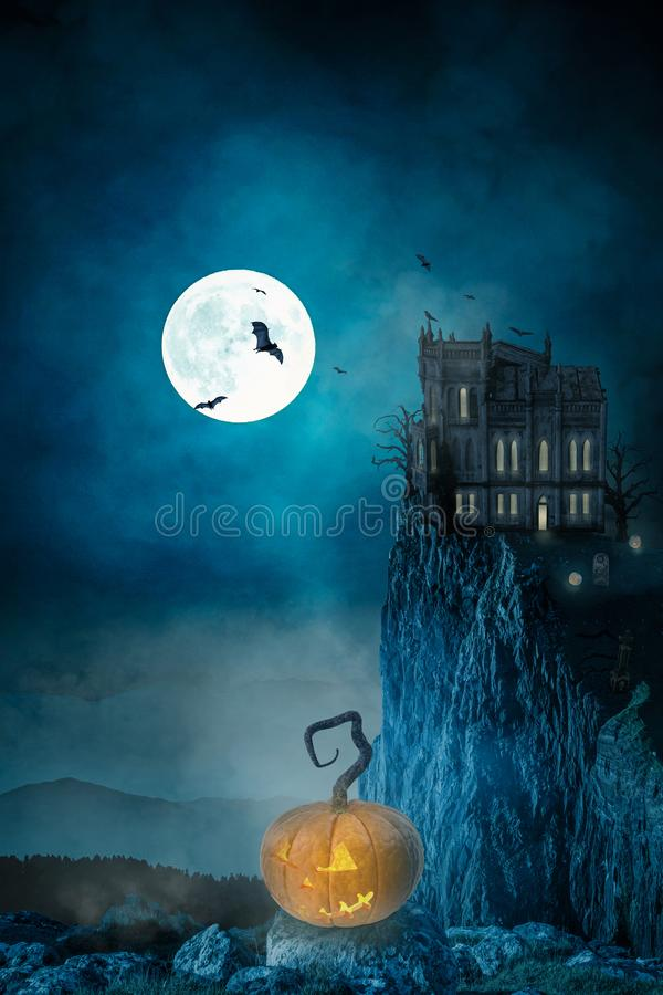 Haunted house on a night with a full moon -3D-Illustration stock images