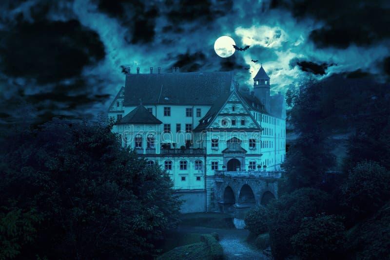 Haunted house at night royalty free stock photos