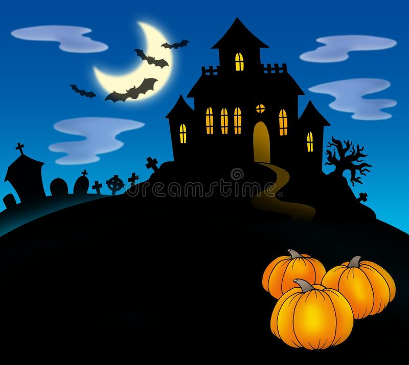 Haunted house with pumpkins stock illustration