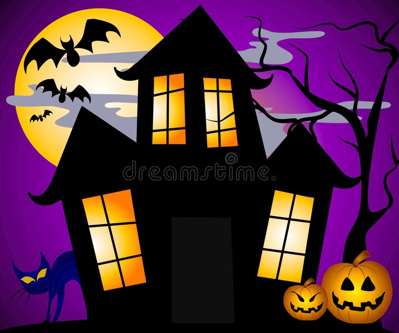 Haunted House Scene vector illustration