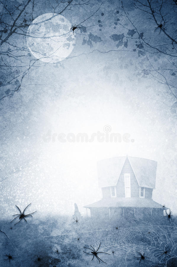 Haunted house with spiders. A blue textured haunted house with spiders and a full moon in the sky. Concept for the Halloween season stock illustration