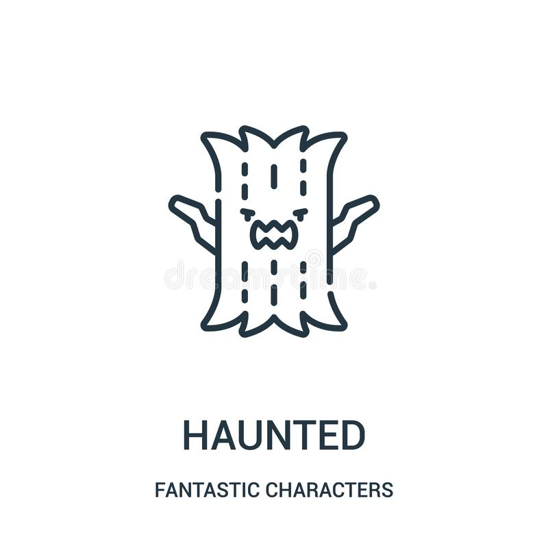 haunted icon vector from fantastic characters collection. Thin line haunted outline icon vector illustration vector illustration