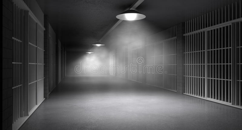 Haunted Jail Corridor And Cells. An eerie haunting corridor in a prison at night showing jail cells illuminted by various ominous lights royalty free stock photos