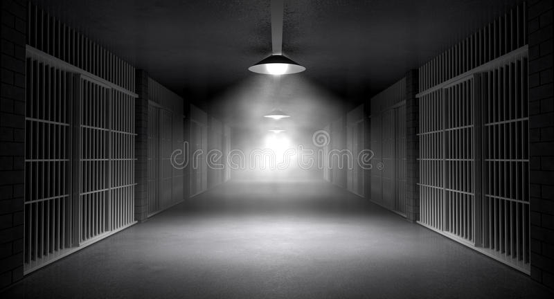 Haunted Jail Corridor And Cells. An eerie haunting corridor in a prison at night showing jail cells illuminted by various ominous lights stock illustration