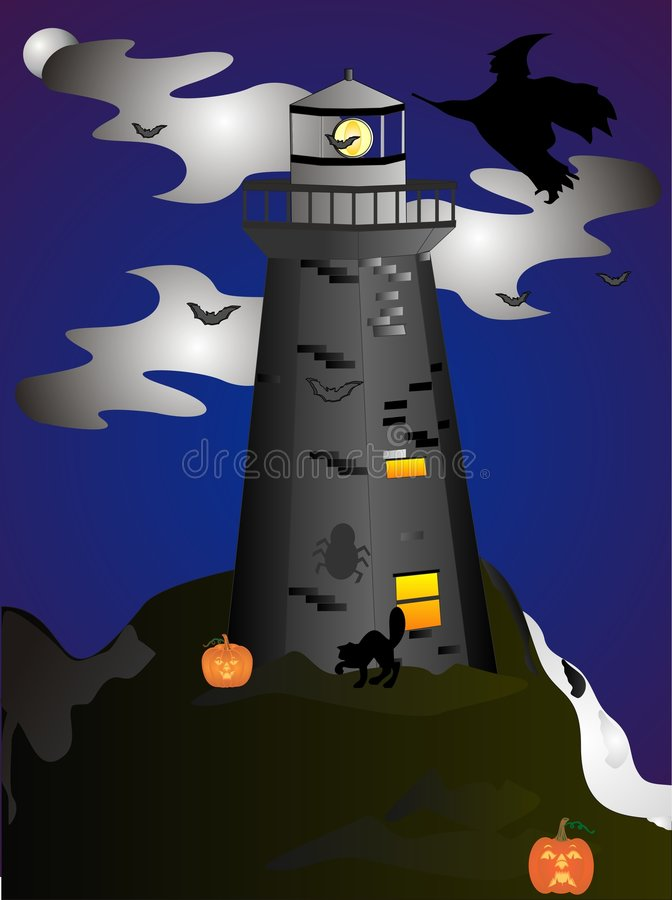 Haunted Lighthouse. A clip art illustration of Halloween night, when THEY all come out at the Lighthouse royalty free illustration