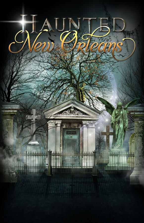 Haunted New Orleans Cemetery Background Poster royalty free illustration
