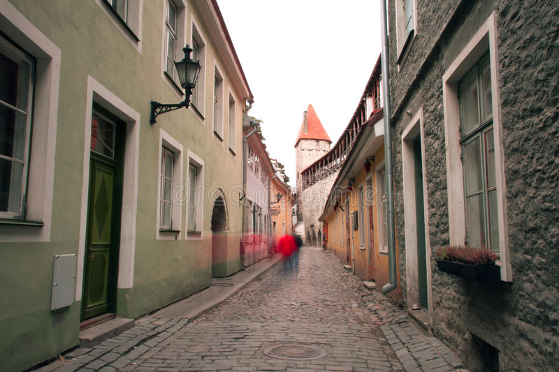 Haunted streets of Tallinn. Street scenery and landscape in a mystical world royalty free stock photo