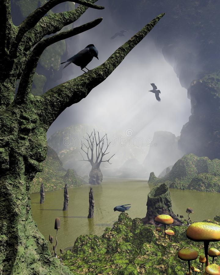 Haunted Swamp. Misty haunted swamp with rotting twisted trees with screaming faces covered in moss and fungus, surrounded by towering cliffs, 3d digitally stock illustration