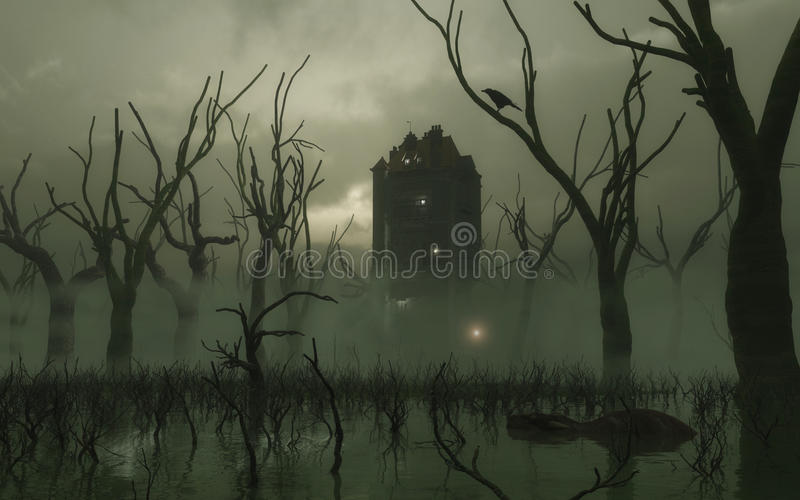 Download Haunted Tower in the Swamp stock illustration. Image of mansion - 16299649