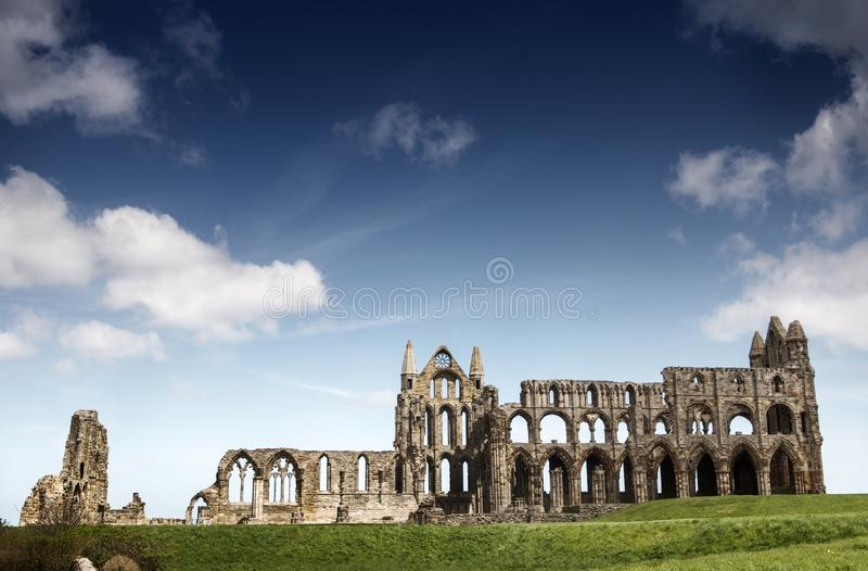 Whitby Abbey in North Yorkshire. Haunting remains of Whitby in North Yorkshire stock photos
