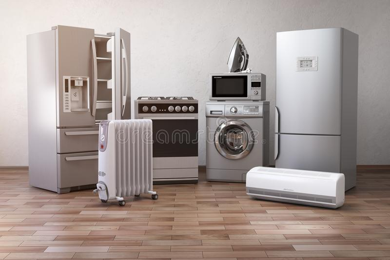 Haupt-appliancess Satz Haushaltsküchentechniken im neuen a lizenzfreie abbildung
