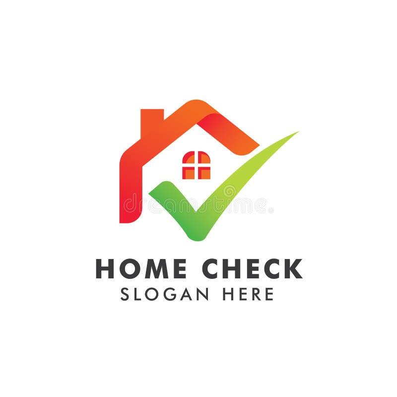 Haupt-Logo Template mit Häkchen Logo f?r Immobilien Agentur Kontrollausgangsikonensymbolentwurf lizenzfreie abbildung