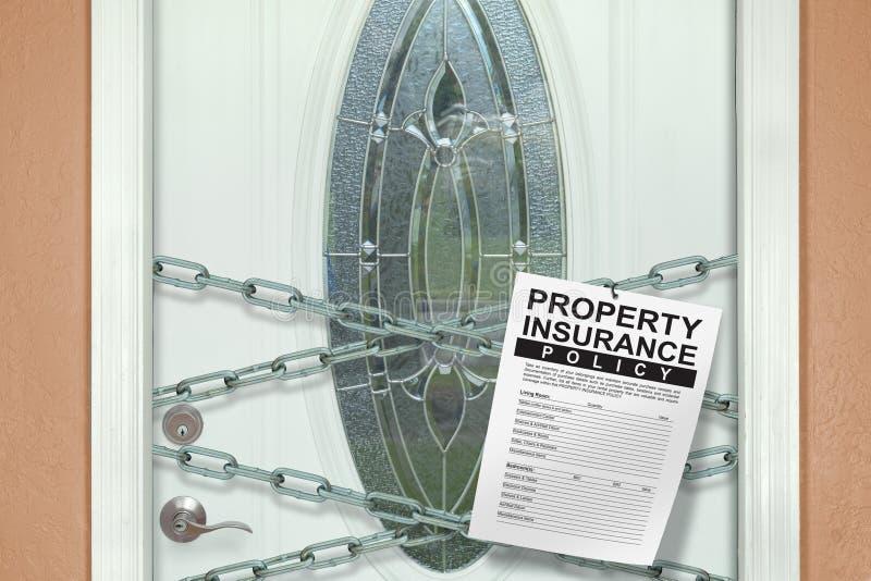 Haupt-owner's Immobiliarversicherungspolitik, die an von den Ketten hängt stockfotografie