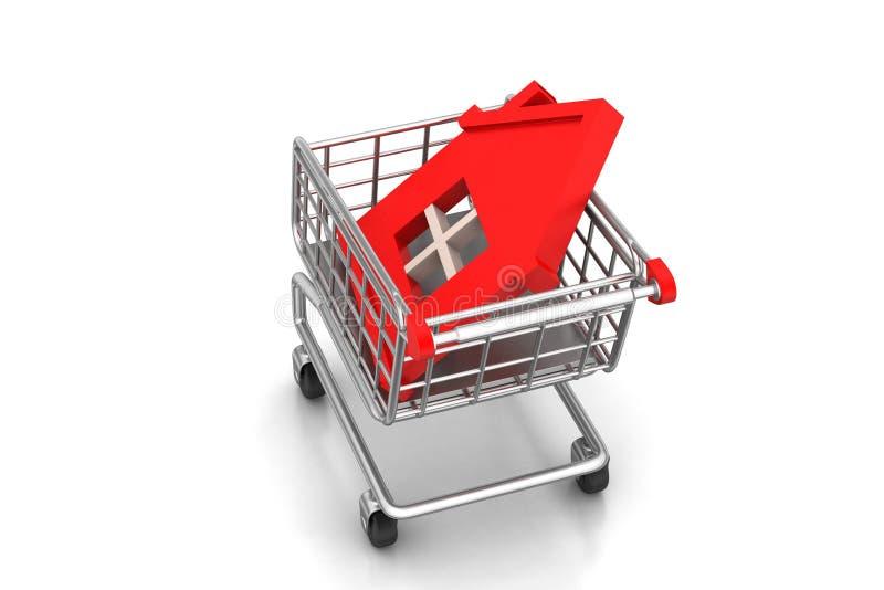 Haupt unterzeichnen Sie herein Einkaufslaufkatze lizenzfreie stockfotografie