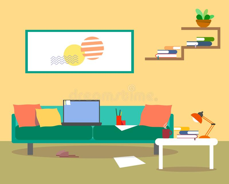Hauptarbeitsplatz auf einem gemütlichen Sofa hinter einem Laptop und einem Becher heißem Tee in einem flachen Design vektor abbildung
