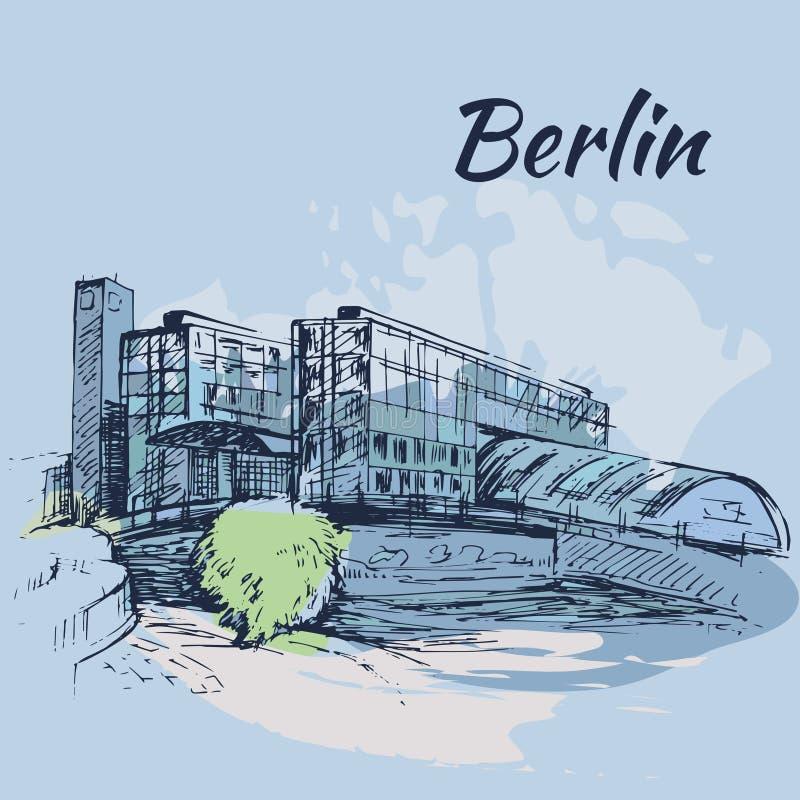 Hauptbahnhof Berlijn - Berlin Central Station royalty-vrije illustratie