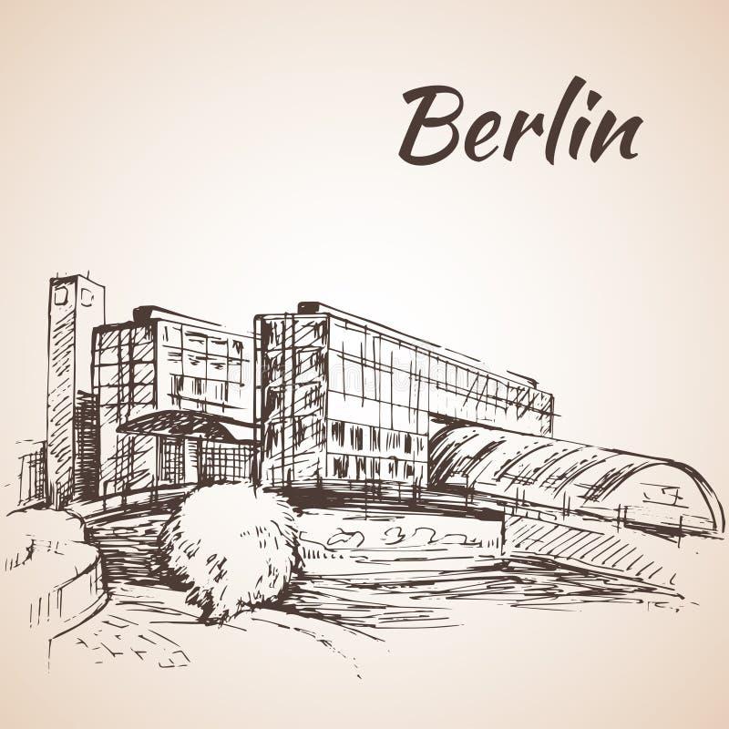 Hauptbahnhof Berlijn - Berlin Central Station vector illustratie