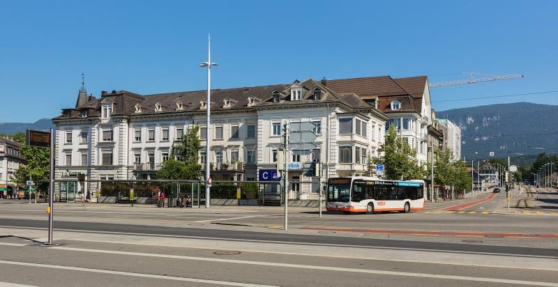 Hauptbahnhofplatz-Quadrat in Solothurn, die Schweiz lizenzfreies stockbild