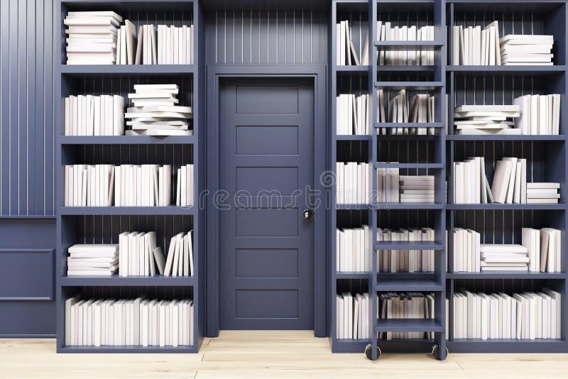 Hauptbibliothek mit einer Leiter, schwarz stock abbildung
