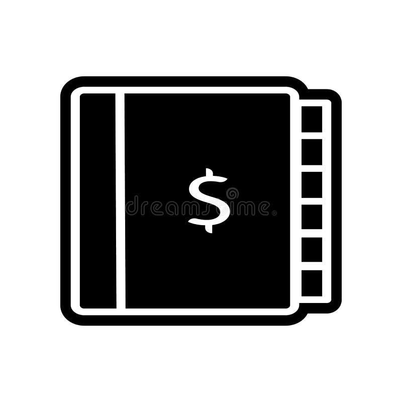 Hauptbuch- u. Dollarikone Element der Finanzierung f?r bewegliches Konzept und Netz Appsikone Glyph, flache Ikone f?r Websiteentw lizenzfreie abbildung