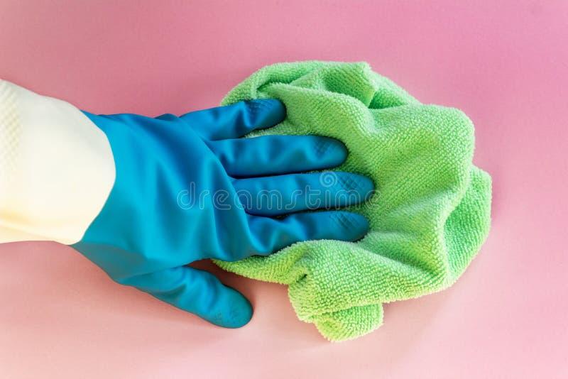 Hauptdesinfizierung Sichere und leistungsfähige Reinigung Hand im Gummihandschuh mit Lappen Flache Lage, Abschluss oben auf rosa  stockbild