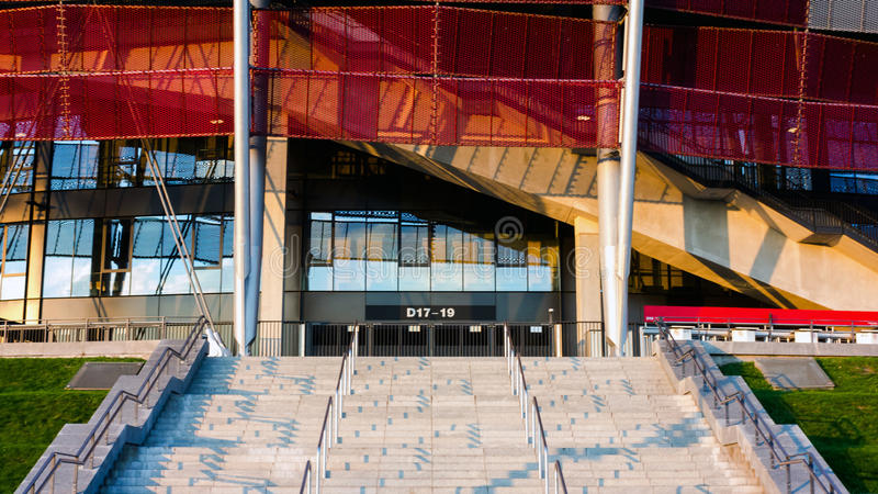 Haupteingang zum Nationalstadion in Warschau, Polen stockfotografie