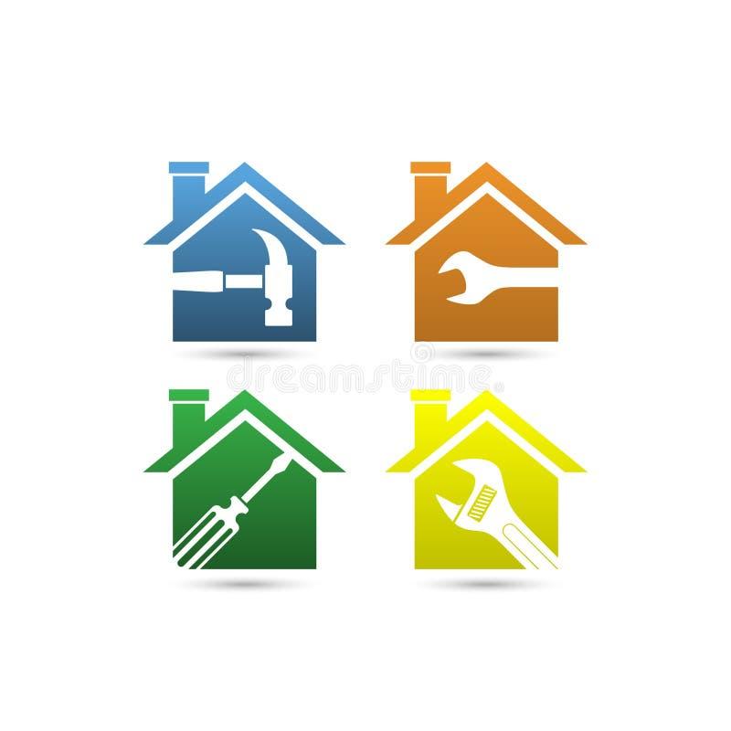 Haupterneuerungen oder Baulogo lizenzfreie abbildung