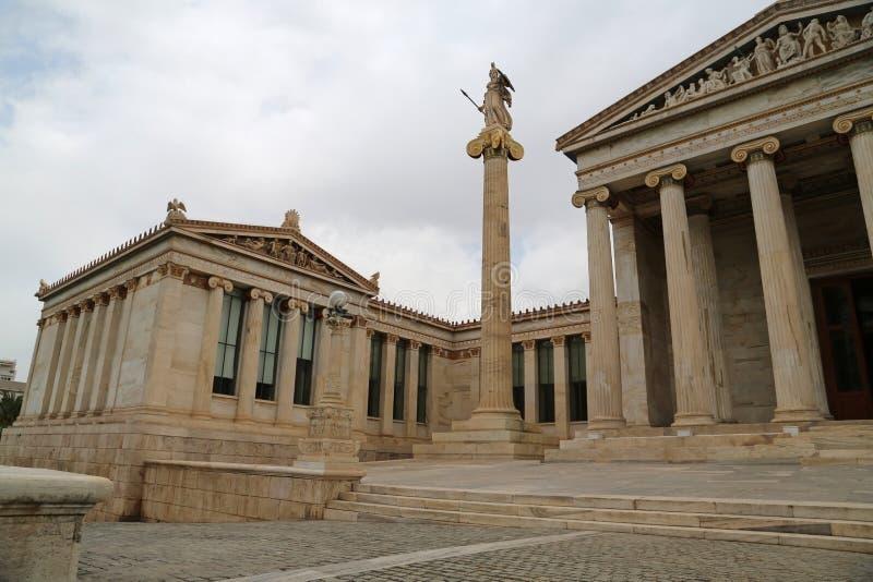Hauptgebäude der Akademie von Athen in Griechenland lizenzfreie stockfotografie