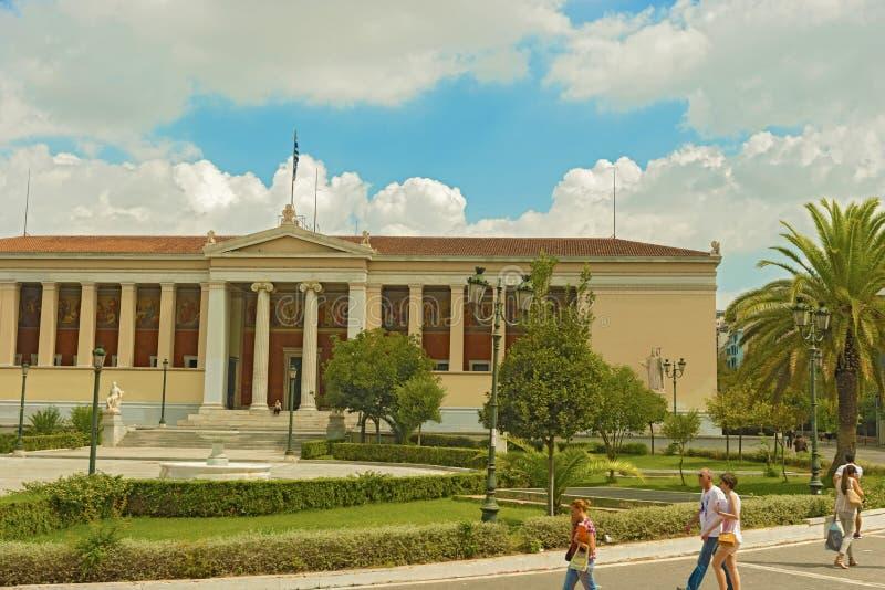 Hauptgebäude der Universität von Athen in Griechenland lizenzfreie stockfotos