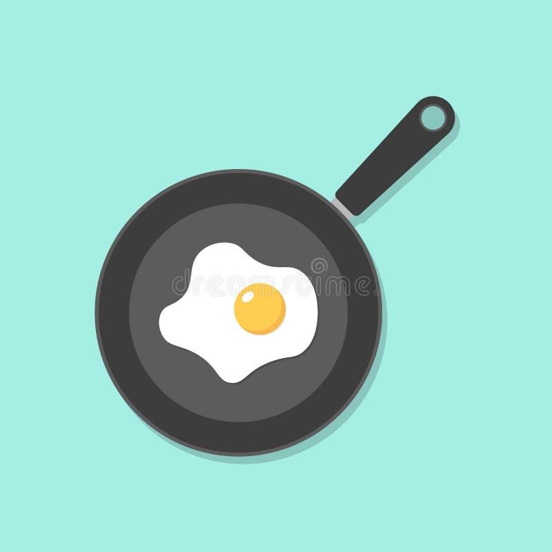 Hauptgekochtes essen, Spiegeleier, Spiegeleier in der Bratpfanne, gesundes Fr?hst?ck, Hausmannskostfr?hst?ck im Caf?, Omelettikon stock abbildung