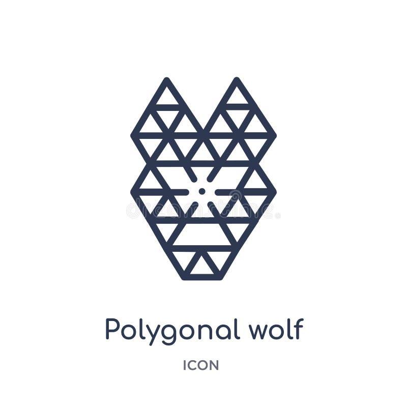 Hauptikone des linearen polygonalen Wolfs von der Geometrieentwurfssammlung Dünne Linie Hauptikone des polygonalen Wolfs lokalisi lizenzfreie abbildung