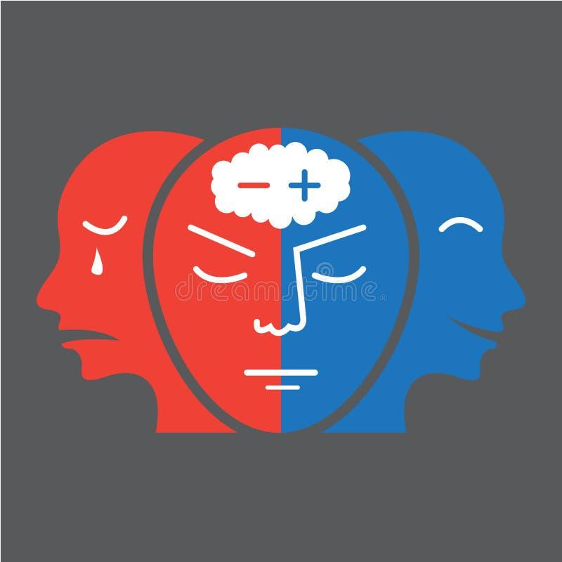 Hauptikone für flaches Design der bipolaren Störung auf grauer Hintergrundillustration stock abbildung