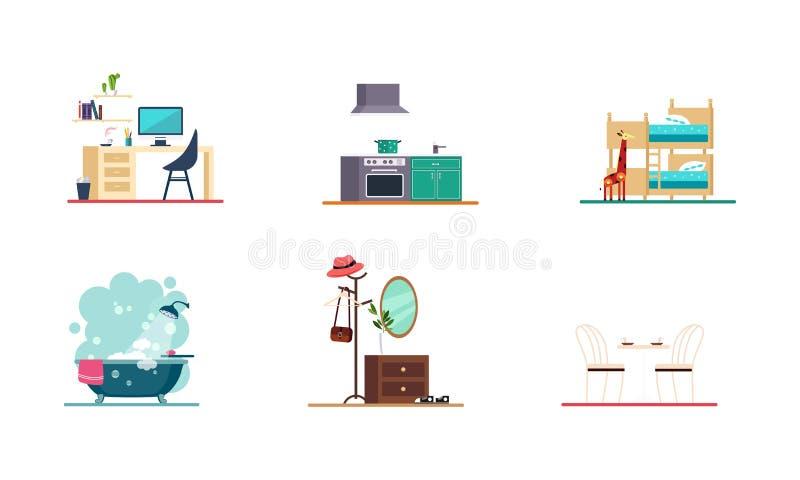Hauptinnen-, Innenministerium, Badezimmer, Küche, Schlafzimmer, Esszimmerelementvektor Illustration auf einem weißen Hintergrund stock abbildung
