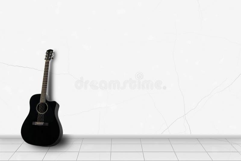 Hauptinnenraum - schwarze Gitarre vor weißer Wand lizenzfreie stockfotos