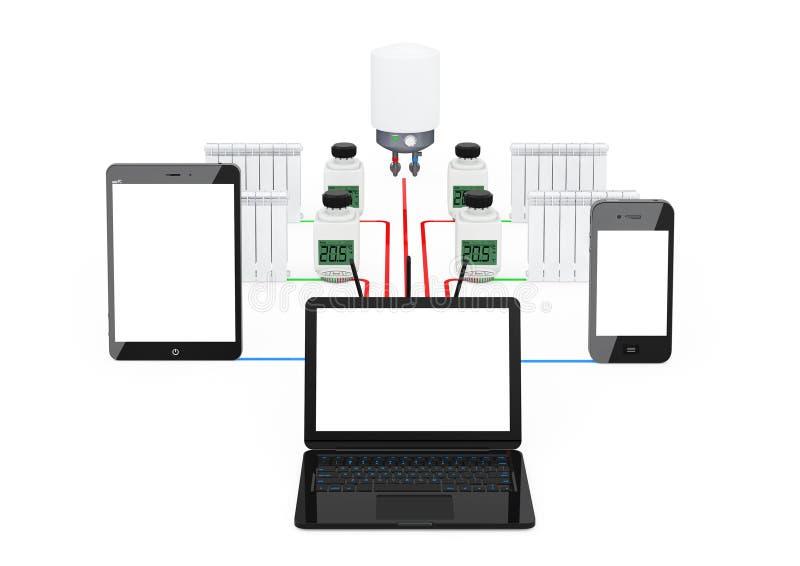 Hauptklimaregelungs-System-drahtloses kontrolliertes durch Laptop, Tabelle stock abbildung