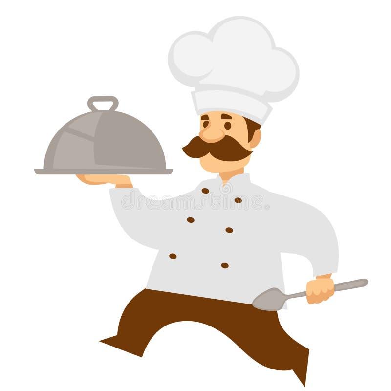 Hauptkoch oder Chef tragen Essenstablett oder Glasglocke stock abbildung