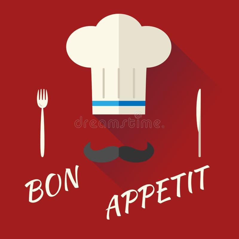 Hauptkoch-Symbol Toque Cuisine-Hut mit dem Schnurrbart lizenzfreie abbildung