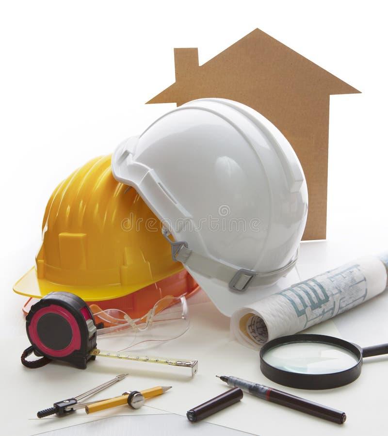 Hauptmodell, Architekten- und Technikschreibenswerkzeug und stationar lizenzfreie stockfotos