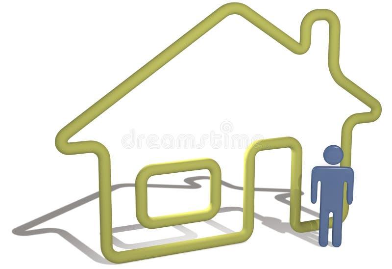 Hauptperson steht Hausumreiß des Symbols 3D bereit lizenzfreie abbildung