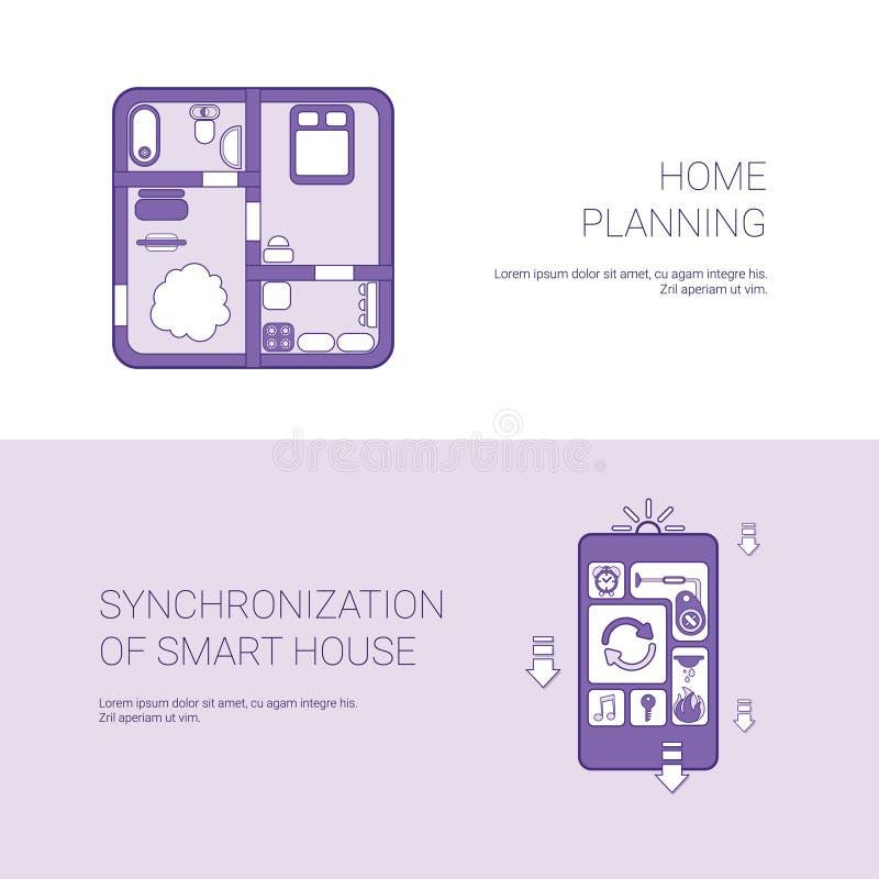 Hauptplanung und Synchronisierung der intelligenten Haus-Konzept-Schablonen-Netz-Fahne mit Kopien-Raum stock abbildung