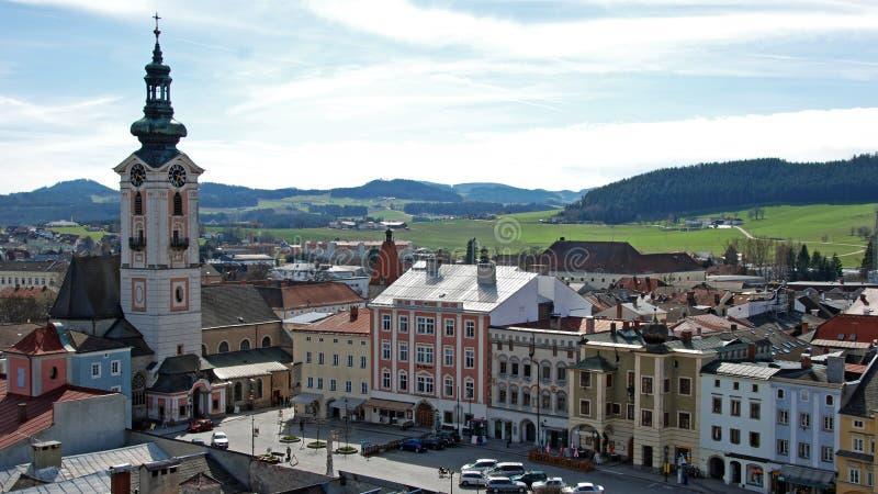 Hauptplatz der Stadt Freistadt lizenzfreie stockfotografie