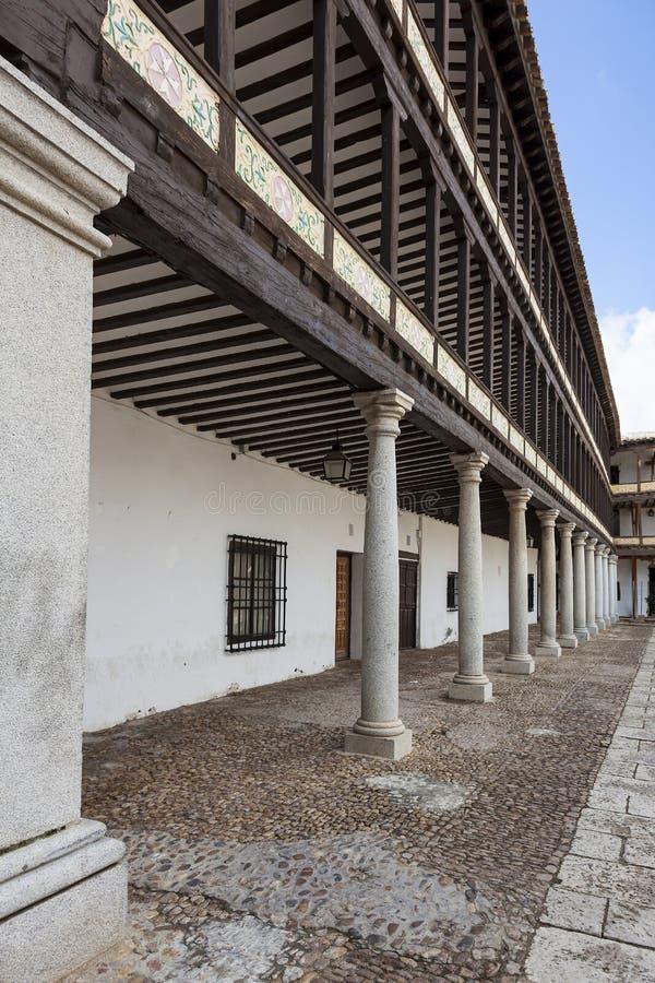 Hauptplatz des 17. Jahrhunderts in Tembleque, Toledo lizenzfreies stockbild