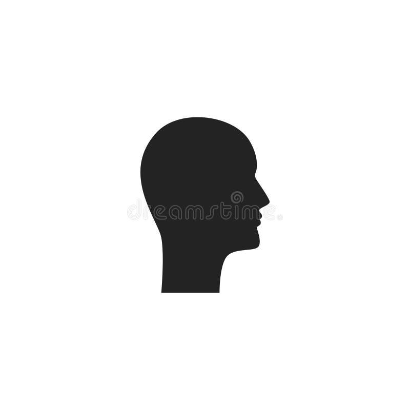 Hauptprofil Glyph-Vektor-Ikone, Symbol oder Logo stock abbildung
