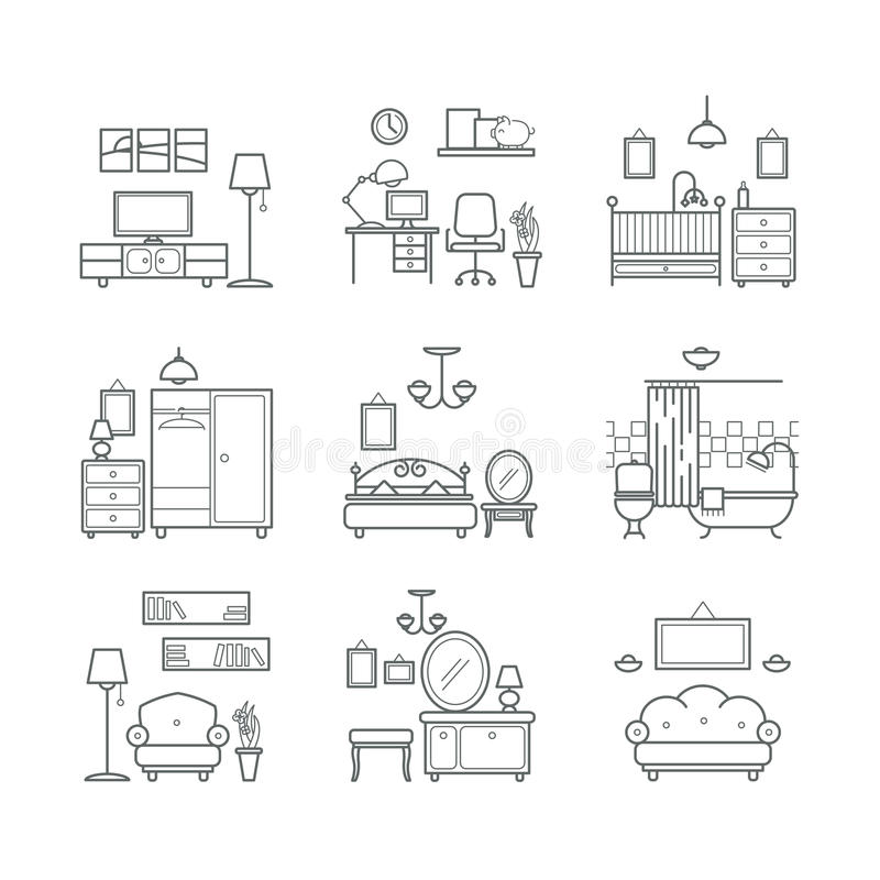 Hauptraumikonen eingestellt Innenarchitektur-Raum-Arten Wohnzimmer, Schlafzimmer, Badezimmer, Arbeitsplatz vektor abbildung