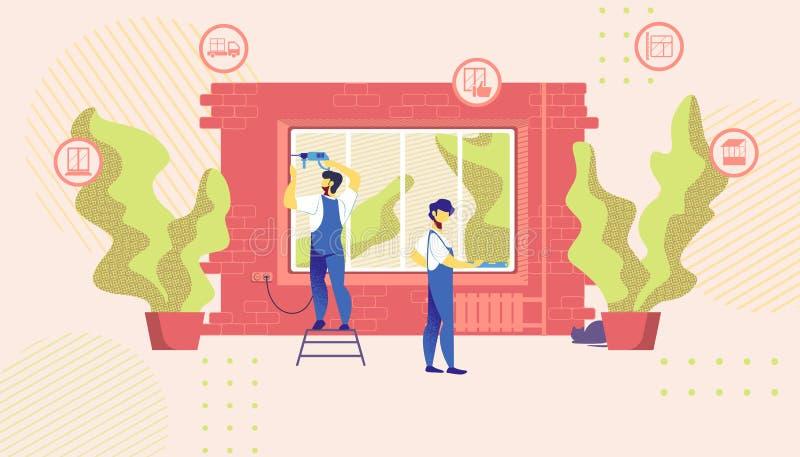 Hauptreparatur-Meister gründeten neues Windows im Gebäude lizenzfreie abbildung