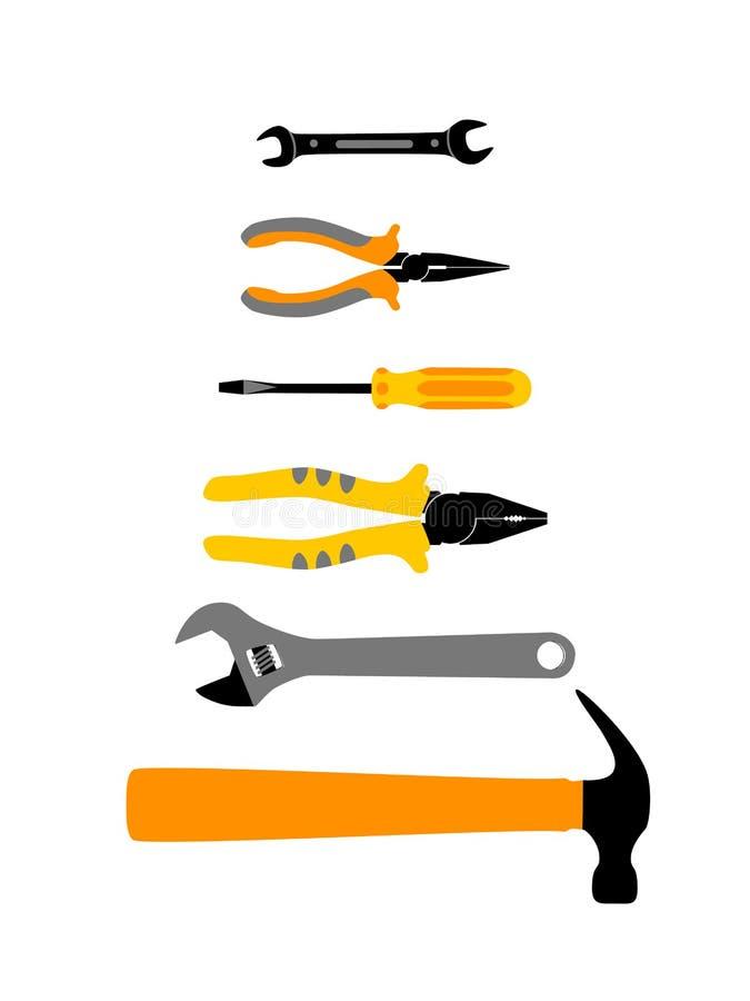 Hauptreparatur- und Hauserneuerungsfahnenschablone mit Bauarbeitwerkzeugen Handinstrument: Hammer, Schraubenzieher stock abbildung
