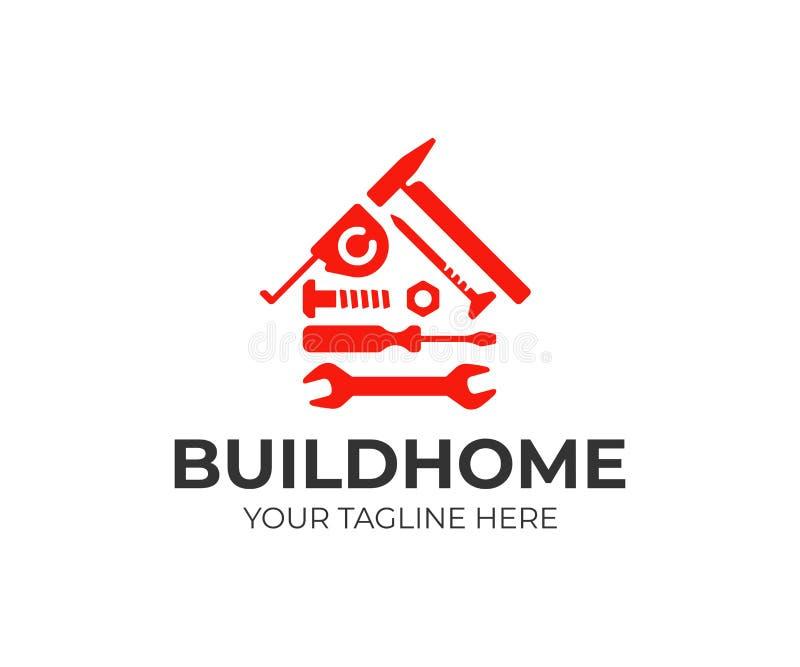 Hauptreparaturlogoentwurf Wohnungsbauwerkzeug-Vektorentwurf stock abbildung