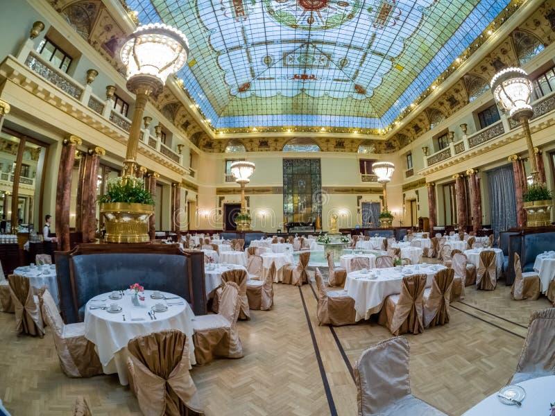 Hauptrestaurant in Metropol-Hotel in Moskau, Russland lizenzfreies stockbild
