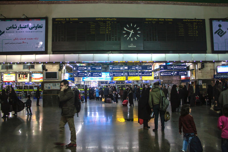 Hauptsächlichbahnhof in Teheran stockbilder